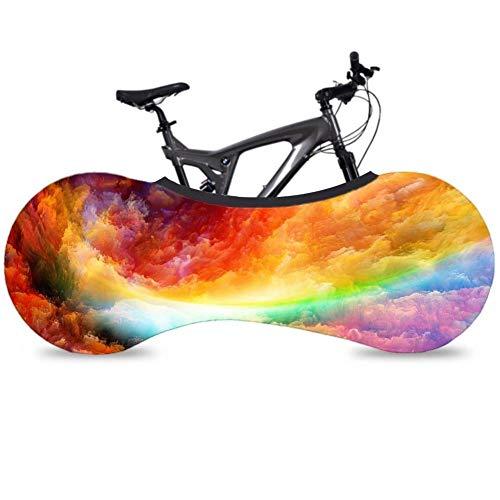 QueenHome Schutzhülle für Fahrrad, Radkappe für Mountainbike, Gummizug, Staubschutz, Aufbewahrung für Fahrräder, sehr robust Nuage Coloré