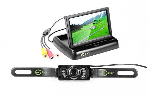 "® Auto 4,3"" Faltbarer Farb TFT LCD Monitor Nachtsicht mit 135° LED IR Wasserdicht IP67 Rückfahrkamera Frontkamera 9-16V Positivbild Spiegelbild Einparkhilfe Rückfahrsystem Set"