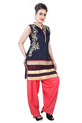 Dritto Usura Si Adatta Alle Donne Partito Delle Signore Punjabi Patiala Salwar Vestito Indiano Pakistano Casuale Dritto Ghette Vestito Combo Kameez Donna Bollywood Partito Suit Vestito (RMS-6902) NAVY BLUE & PEACH