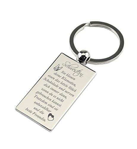 """Schlüsselanhänger Rechteck Chrom mit Gravur """"Schwestern. Sie klauen deine Klamotten…"""" – Chrom – Geschenk für die Schwester zum Geburtstag oder als Geschenk zu Weihnachten"""