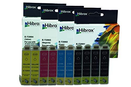 Pack 10Pcs Hibrox Jet d'Encre Compatible Epson 4x T2991 Noire 2x T2992 Cyan 2x T2993 Magenta 2x T2994 Jaune pour Epson EXPRESSION HOME XP 235 245 247 332 335 342 345432 435 442 XP 235 245 247 332