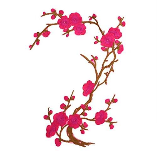 LUFA Pflaumenblüte Flower Patch Blume Applique Kleidung Stickerei Stoff Aufkleber Patch Aufbügeln oder Aufnäher Patch Rose rot 19 * 26.6cm -
