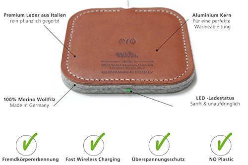 Pack & Smooch 10W / 7.5W Fast Wireless Charger Taurus aus Leder und Wollfilz für iPhone XS/8 Plus/8 und Samsung Galaxy S9/S9 Plus/S8/S8 Plus alle Qi-fähigen Geräte (Hellbraun)
