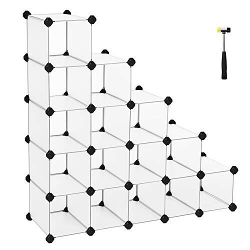 SONGMICS Schuhregal Regalsystem halbTransparent Weiß (Maße jedes Faches 22 x 22 x 35 cm) LPC44S
