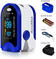 AccuMed Fingertip Pulse Oximeter, Sp02 Finger Blood Pulse Oxygen Monitor, w/Carrying case, Lanyard Silicon Cas