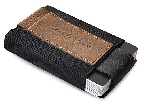 JAIMIE JACOBS 'Nano Boy' Mini Portafoglio Porta Carte di Credito sottile Mini Wallet Portafoglio uomo piccolo dal design minimalista Porta tessere slim tascabile (Nero) (Pelle Di Bufalo Marrone)