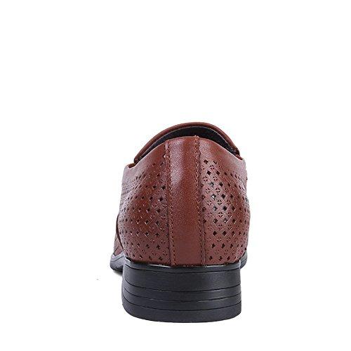 ailishabroy Hommes Chaussures Été Respirant et Rafraîchissant Robe Uniforme Slip de Chaussures Mocassins daffaires Officielles Marron Clair