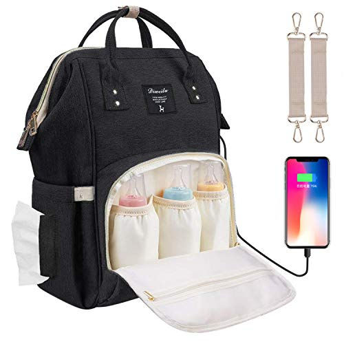 Baby Wickelrucksack Wickeltasche mit Wickelunterlage Multifunktional Große Kapazität Babytasche Reisetasche USB-Ladeanschluss für Unterwegs, Schwarz (Bank Bottle Baby)