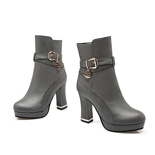 AllhqFashion Damen Hoher Absatz Naht PU Leder Reißverschluss Stiefel, Grau, 37