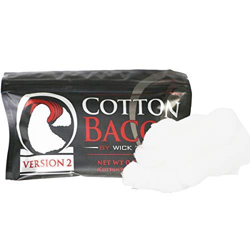 Authentique Cotton Bacon V2.0 Coton Organique Par Wick 'N' Vape Pour La Reconstruction de RBA,RTA,RDA,RTDA,Atomiseur Reconstructible (1 sac)