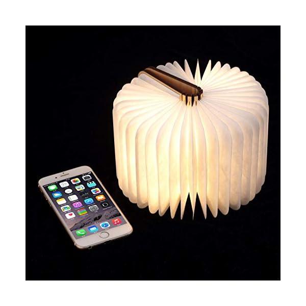 Lampada Libro USB Ricaricabile, Lampada a Forma di Libro, Luce LED di legno, Decorativi Lampada da Tavolo -1000mAh Mini… 5 spesavip