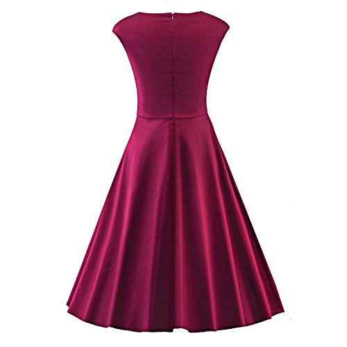 LUOUSE Damen Audrey Hepburn 50s Retro Vintage Bubble Skirt Rockabilly Swing Evening Kleider,WineRed,L - 2