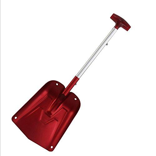 Biback Schneeschaufel, tragbar, Teleskop-Schneeschaufel aus Aluminium, für Auto und Haushalt, Hof, Schneeschaufel, Rot