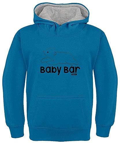 HARIZ Kinder Hoodie Kapuzenpullover Kontrast Baby Bär Tiere Kindergarten Plus Geschenkkarten Royal Blau/Hell Grau 128/7-8 Jahre -