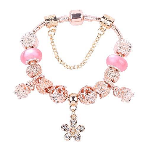 Yisj armband Silber Kristall Rose Gold Perlen Charms Armband Für Frauen Mit Sicherheitskette Feines Armband 19 cm