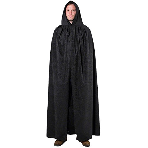 ADULT BLACK LONG HOODED COSTUME CLOAK CAPE ALL SIZE HALLOWEEN MEN or LADIES (Hooded Cape Womens Black)