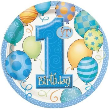 Ballons plaques assiettes pour premier anniversaire de bébé Boy. Lot 2 plaques de 16, Taille : 23 cm