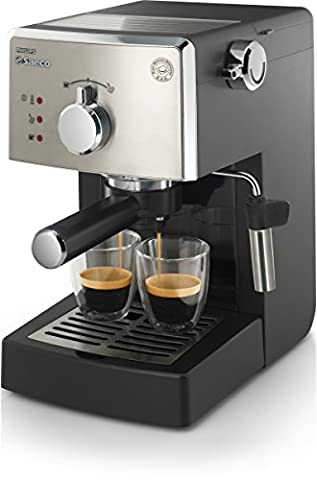Philips Saeco Poemia - coffee makers (freestanding, Ground coffee, Pod, Manual, Espresso, Hot water, Black, Stainless