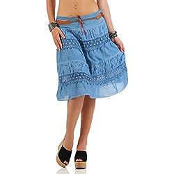 malito verano falda con cinturón tramo et cinturón 16167 Mujer Talla Única (azul)