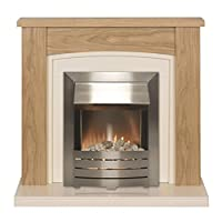 Adam Chilton Oak Electric Fireplace Suite with Brushed Steel Electric Fire 2000W, Oak/Ivory