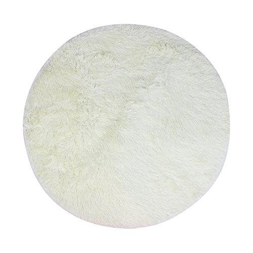 VANELIFE Runder Bereich Teppich, Dicker Langes Haar Flauschig Weich für Wohnzimmer Schlafzimmer, Weiß Outdoor-läufer Teppich 2 X 14