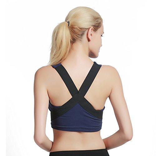 Hougood Femme Soutiens-gorge de sport Yoga Sport Fitness Brassière Débardeurs Gilet de Formation Professionnelle Stitching Design Bleu foncé