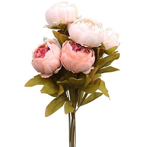 OUNONA Bouquet de Pivoine en Soie Artificielle Fleurs pour la Décoration de Fête Mariage