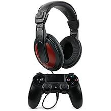 DURAGADGET Auriculares Estéreo Para Mando Dualshock 4 - En Negro Y Rojo Con Cable De 2 m + Clavija Jack 6.5 mm