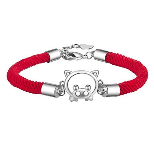 Kongnijiwa Die Geburtsjahr Glück Seil-Schnur rote Schnur Mädchen gesponnenes Armband Frauen Tier Kupfer Handkette -