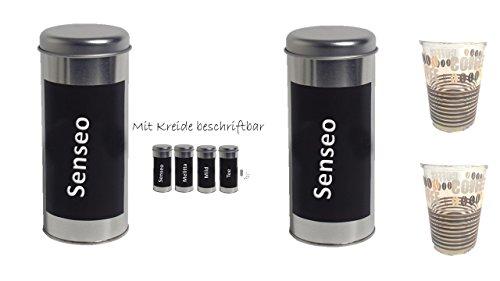 Kaffeepaddose -2er Set Metall Creative mit Kreide beschriftbar + 2 Kaffeebecher Coffee