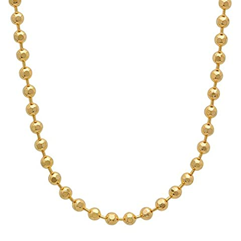 3mm 14k Yellow Gold Plated Diamond-Cut Ball Link Chain Necklace, 101 cm