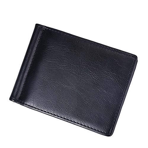 Homeofying Retro Männer Multi Slots Einfarbig Bifold Kunstleder Kupplung Kurze Brieftasche Geldbörse Brieftasche Für Männer Frauen Kartenhalter Schwarz -