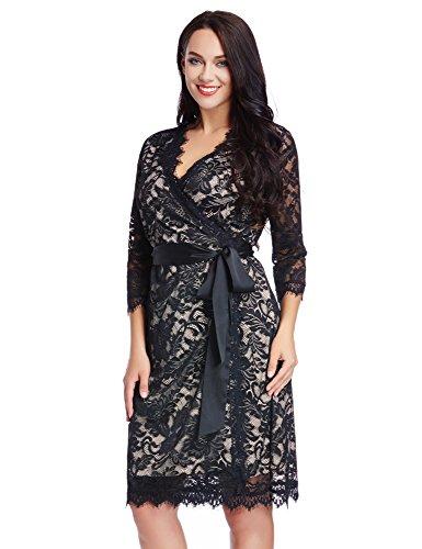 LookbookStore Maxi robe femme grande taille dentelle motif floral col en V extensible à la taille Black Lace / Doublure Nude