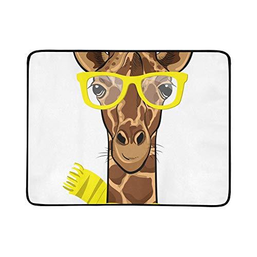 WYYWCY Karikatur-Nette Giraffen-Muster-tragbare und Faltbare Deckenmatte 60x78 Zoll-handliche Matte für kampierenden Picknick-Strand