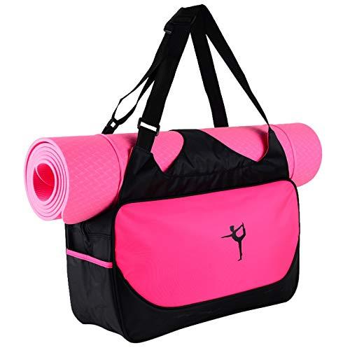 Outtybrave Wasserdichte Yogatasche Nylon Rucksack Pilates Träger Yoga Matte Tasche ohne Yogamatte rosig