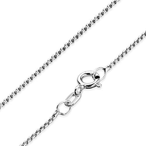 MATERIA Venezianerkette Silber 925 rhodiniert 45 cm - Damen Silberkette 1,2mm rund Halskette für Frauen in Etui K102-45