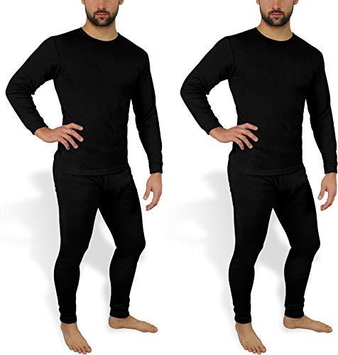 normani 2 x Herren Thermo Unterwäsche - Ski Unterwäsche Garnitur - Lange Unterhose und Hemd - Thermounterwäsche Set Farbe Schwarz Größe XS