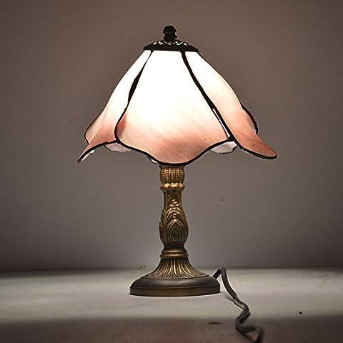 LIUSUN 8 Pouce Rose Lotus Fleur Tiffany Lampe de Table Pays Style Vitrail Lampe De Chevet E27