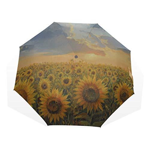 Reiseregenschirm Gelb Und Schöne Sonnenblumen Feld Anti Uv Compact 3 Falten Kunst Leichte Faltbare Regenschirme (Außendruck) Winddicht Regen Sonnenschutz Regenschirme Für Frauen Mädchen Kinder -