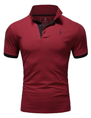 Glestore Herren Poloshirt Einfarbig farbe - Burgund , Gr. L (Basic Herren-polo-shirt)