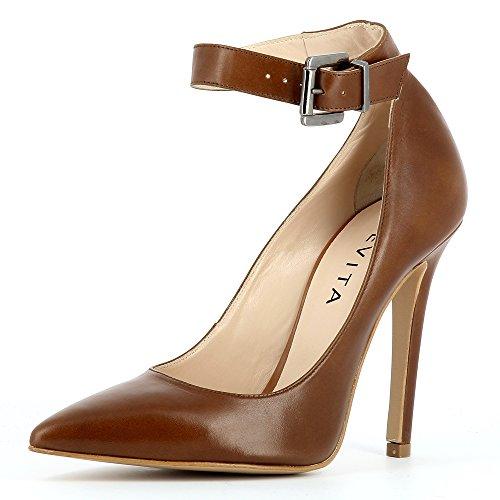 Evita Shoes Lisa Damen Pumps Glattleder Cognac 38