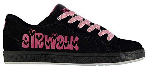 ladies-lace-up-cutesey-skate-shoes-trainers-footwear-6-39-black-pink