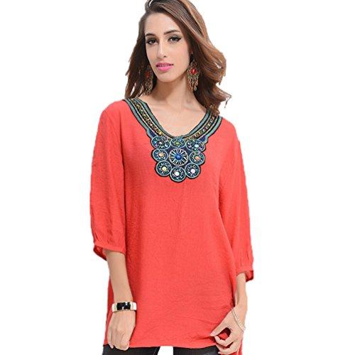 WanYang Donne V-Neck Camicia Camicetta Tops Colletto Tondo 3/4 Manica Bluse T-shirt per Donna Rosso # _02