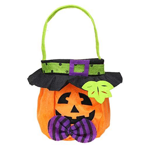 Bluelover 25X16 cm Halloween Süßigkeiten Taschen Kürbis Handtasche Vampire Trick Katze Hexe Tasche Prop Decor - Kürbis