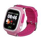 Niños Reloj Inteligente GPS Rastreador Localizador anti-lost Seguridad Niños Reloj de Pulsera SOS Llamadas SIM Podómetro Smartwatch Compatible con iPhone y Android Smartphone (Rosa)