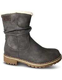16b3d108e62608 Damen Stiefel gefüttert Boots Stiefeletten Outdoor Winter Schnee Biker