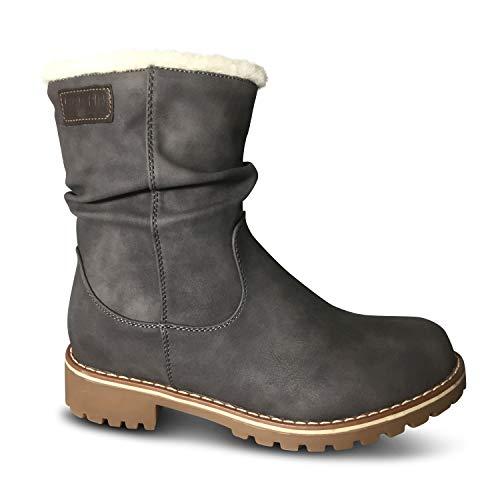Damen Stiefel gefüttert Boots Stiefeletten Outdoor Winter Schnee Biker (40 EU, Grau kurz)