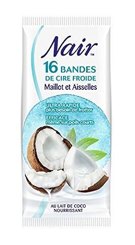 Nair 16 Bandes de Cire Froide Maillot/Aisselles au Lait de Coco Séparation Immédiate sans Frotter Sachet