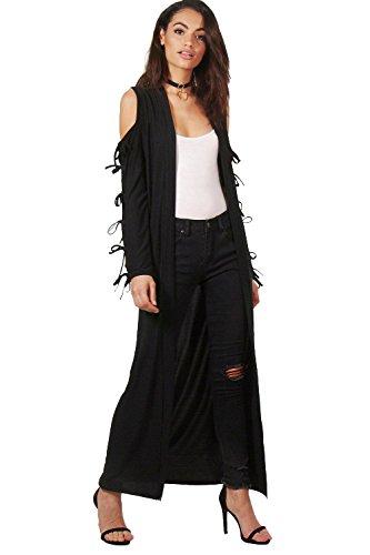 Damen Schwarz Milly Kimono Mit Ausgeschnittenen Schultern Und Schnürung Schwarz