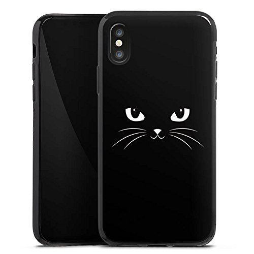Apple iPhone X Silikon Hülle Case Schutzhülle Black Cat Katze Kater Silikon Case schwarz